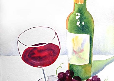 Winebottle, Glass, Grapes